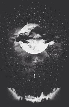 b&w, black and white, boy, cloud, girl, magic, moon, night, scenery, wallpaper, First Set on Favim.com, back ground, foestr