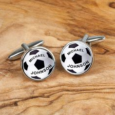 Personalised cufflinks with highly polished chrome finish and football design Can be personalised with recipient's name on both cufflinks. Please note that due to the personalised nature of these cufflinks they cannot be dispatched for 1-2 working days. Express orders placed before 2pm will be dispatched on a next day service the following working day.