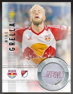 9a7c6e49651 Mike Grella New York Red Bulls (MLS) Game Used Jersey Swatch (Logo   Dirt)  MLS Relic Insert Card (Limited 399) 2015 Topps KICK