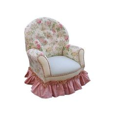 Pink Floral English Bouquet Childs Queen Anne Lounge Chair found on Polyvore