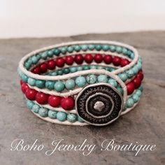 3 Row Boho Cuff Bracelet with Red Bamboo and Turquoise Magnesite on Metallic Silver Leather - $45 by Boho Jewelry Boutique