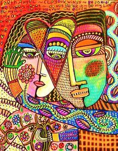 Talavera Garden Angel Lovers' SILBERZWEIG by SandraSilberzweigArt, $18.99