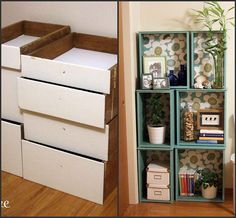 DIY storage space. shelves from an old drawer + paint + scrapbook paper= pretty bookshelves.