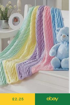 Knitting Pattern for Striped Cables Baby Blanket - Cable and lace rainbow blanket knit in sections and seamed. One of 9 patterns in Dreamy Baby Wraps Knitted Baby Blankets, Baby Blanket Crochet, Crochet Blanket Patterns, Crochet Baby, Crochet Owls, Crochet Animals, Baby Knitting Patterns, Baby Patterns, Baby Afghans