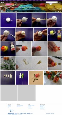 A simple way to make Pomegranate branch out of gum paste, polymer clay, cold porcelain, and Fondant Toppers, Fondant Figures Tutorial, Polymer Clay Miniatures, Polymer Clay Creations, Fondant Flower Cake, Fondant Bow, Fondant Cakes, Flower Tutorial, Tutorial Crochet