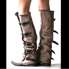"""Free People A.S. 98 taupe Tatum Over Knee Boots Free People A.S. 98 taupe distressed leather """"Tatum Over The Knee Boots"""" leather buckles *By A.S.98 inspired tall boots with beautiful tonal leathers.  Gorgeous wrap design goes all the way up calf and features leather buckles. Facing side zips.  *By A.S.98  New Without Box  *  Size:  38 retail price: $599.00  *All materials and components are from Italy and exported for manufacturing.  *Leather  *Import   Measurements for 38: Shaft: 22 in = 56…"""