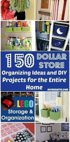 150 Dollar Store Organizing Ideas and Projects for the Entire Home. Good ideas--note to self: site a bit difficult to navigate--time comsuming. #Christmas #thanksgiving #Holiday #quote