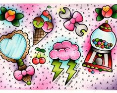 Vorssa Ink by Kata Puupponen Tattoo Flash Print Sheet bubblegum