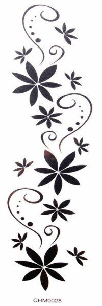 Waterproof black tattoo stickers flowers sexy arm (waist / chest / back / shoulder / hand / leg, etc.)