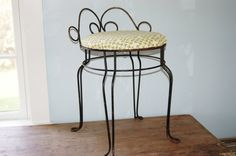 Vintage Wrought Iron Chair with Hairpin Legs, Vintage Vanity Chair - SOLD!