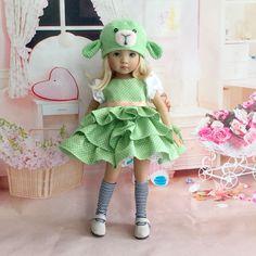 Dianna Effner Little Darling My Meadow Avery Lambchop Ensemble Dress Outfit Hat #DiannaEffner