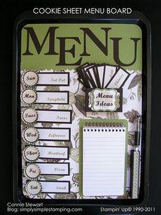 Cookie sheet menu board