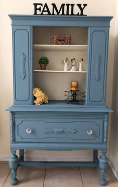 """""""Played with some color this week, GF Stillwater Blue Chalk Style Paint and Antique White Milk Paint are a beautiful combo for this antique hutch!"""" - By Michelle"""
