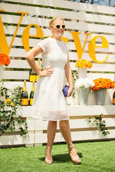 50 Lawn-Party Outfits Gatsby Would Approve #refinery29  http://www.refinery29.com/veuve-clicquot-polo-classic#slide21  The only thing we love more than Busy Philipps' cage-mesh frock...