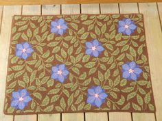 """Fiber Art: Hand-hooked rug, decor, Chinese floral design, floral pattern, purple flowers, green leaves brown background, measures 27"""" x 38"""""""