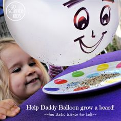 Help Daddy Balloon grow a pepper beard, fun hands-on, static electricity science activity for toddlers & preschoolers.  From Go Science Kids.    #scienceathome #funscience #preschoolscience #staticelectricity #staticscience #sciencekids