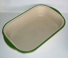 Antique Cream and Green Enamel Meat Loaf by SwanCreekCottage