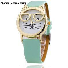Cat Wearing Glasses Fashion Cat Watch