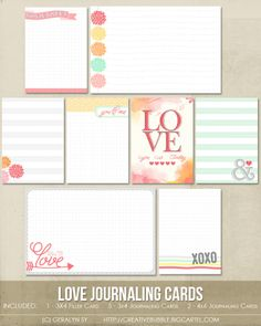 This set of eight digital journaling cards is perfect for scrapbooking. Included in this set are individual high resolution .jpg files and two printable .pdf pages.This set contains:1 - 3x4* Filler card5 - 3x4* Journaling cards2 - 4x6 Journaling cards*actual size of cards is 2.9x4 to comfortably fit Project Life page protector pocketsNote: For personal use only please. This is a downloadable product