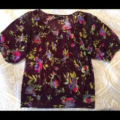 Express Dark Purple Floral Lace Blouse Express Dark Purple Floral Lace Blouse Express Tops Blouses