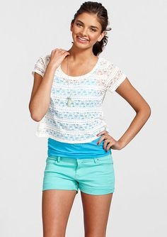 "dELiAs > Taylor 2 1/2"" Mint Denim Short > shorts > shop by fit > short shorts"