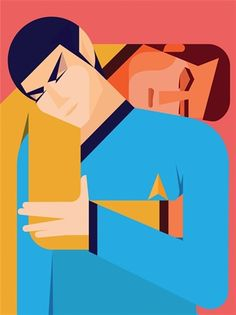 made by: Rob Bailey 'Kirk & Spock' - illustration for Zeit Magazin Outline Artists, Spock And Kirk, Dr Spock, Gay Comics, Affordable Art Fair, Gay Art, Sculpture, Limited Edition Prints, Illustrations Posters