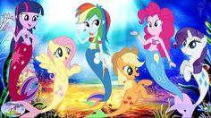 My Little Pony Transforms Into Mermaids Mane 6 MLP Coloring Book Surpris...