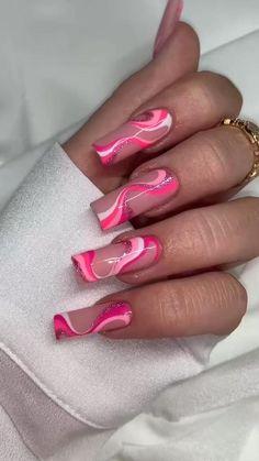 Long Square Acrylic Nails, Pink Acrylic Nails, Acrylic Nail Designs, Summer Acrylic Nails Designs, Dope Nail Designs, Pink Acrylics, Acrylic Nail Art, Edgy Nails, Funky Nails