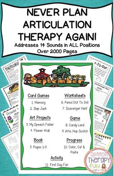 Over pages of plans, games, materials lists, worksheets, art projects… Articulation Therapy, Articulation Activities, Speech Therapy Activities, Language Activities, Physical Activities, Speech Pathology, Speech Language Pathology, Speech And Language, Play Therapy Techniques