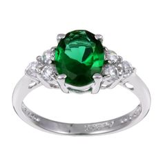Sterling Essentials Sterling Silver Green Oval Cubic Zirconia Ring