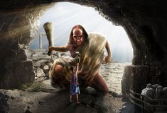 Odysseus offering wine to Polyphemus. I have used these stock pictures: - Barbarian by lindowyn-stock . - Fantasy-Tree-png by . Odysseus and Polyphemus