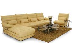 !Luxury Pearlescent Genuine Leather L Shaped Corner Sofa Set