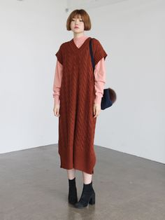 cable knit long dress