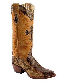 Ferrini Python Print Cross Inlay Cowgirl Boots - Snip Toe
