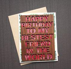 Best Friend Birthday Card - Watercolor Birthday Card - Wood Card - Unique Greeting Card