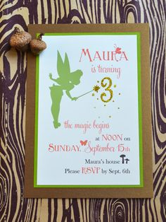 Maura turns 3 next month! (How did that happen?) When she turned one and two years old , I got away with doing the party how I wanted, but . Fairy Birthday Themes, 4th Birthday Parties, 3rd Birthday, Princess Birthday, Birthday Ideas, Birthday Board, Tinkerbell Invitations, Tinkerbell Party, Birthday Invitations
