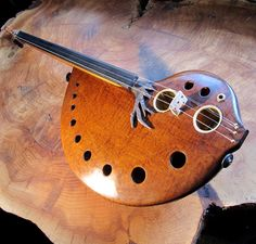Handmade musical string instrument.Guitar Violin by RaysRootworks, $800.00
