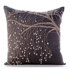 Decorative Throw Pillow Covers Accent Pillow Couch Sofa Bed Pillow Case 18x18 Brown Linen Pillow Cover Pearl & Jute Embroidered Nature Trail by TheHomeCentric on Etsy