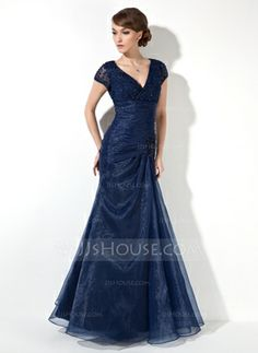 Mermaid V-neck Floor-Length Organza Lace Mother of the Bride Dress With Ruffle Beading (008005656) - JJsHouse