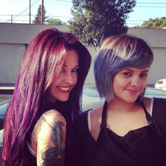 Purple/red hair and silver/ blue hair.