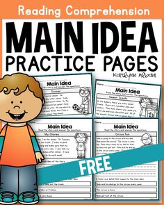 These main idea practice pages are perfect for main idea beginners! Each page includes a short, easy to read passage with 2 questions. The first question asks students to write the main idea. Reading Lessons, Reading Resources, Reading Activities, Reading Skills, Educational Activities, Reading Tips, Reading Strategies, Literacy Activities, Therapy Activities