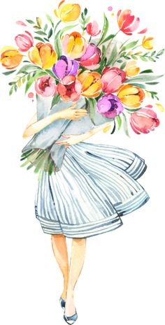 Tulips Bouquet For You With Love Card Spring by JunkyDotCom - Colorful handpainted watercolor bouquet of tulips carried by a young woman. Art Floral, Painting & Drawing, Watercolor Paintings, Tulip Watercolor, Tulip Drawing, Watercolor Art Landscape, Watercolor Girl, Tulip Bouquet, Hydrangea Bouquet