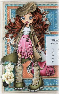 """Cardville- Cards by Elizabeth: DT CMN: Another calendar ~Copic colors used:  Skin/Hud: E13-11-21-000, R20 Eyes/Øyne: B99-95-93-91 Hair/Hår: E49-18-08, YR18-14 Brown-beige/Lue, Ytterside frakk og detaljer på skoene: E44-43-42-41 Green/Innside frakk og sko: E89-84-81-80, W7 Pink/Rosa: E89-85-83-81 Yellow/Gule detaljer: YR24, Y21 white/""""hvitt"""": W7-3-1 Background/Bakgrunn: W5-3-1-00."""