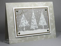 Vellum Pines using Stampin Up Patterned Pines
