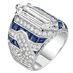 """Winter in France"" ring in 18-karat white gold set with a 2.2-carat cabochon cut - spinel, 15 calibrated sapphires for a total weight of 2.7 carats and 248 brilliantcut - diamonds for a total weight of 5.7 carats"