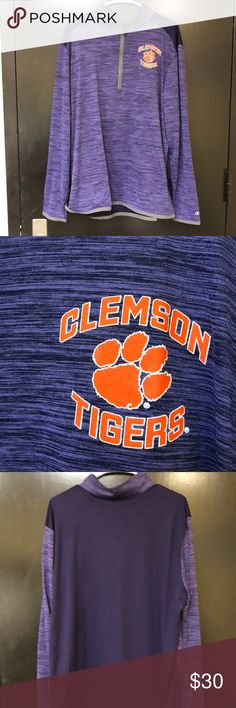 XL Clemson Tigers dry fit quarter zip Super light weight. Great for workouts or comfy clothes. Champion Tops