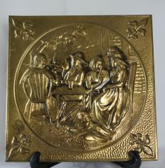 Vintage Brass Charger Plate Wall Hanging Relief Bar Tavern Inn Patrons Barware