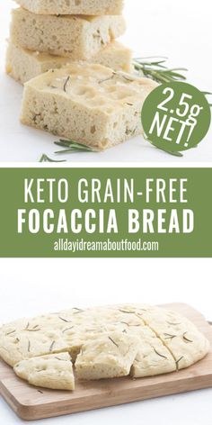 Keto Focaccia Bread You're going to love this easy keto flatbread! Soft and airy keto focaccia bread that tastes just like the real thing. Made with almond and coconut flour, so it's completely grain-free. Dairy-free option too. Low Carb Bread, Low Carb Keto, Keto Carbs, Ketogenic Recipes, Low Carb Recipes, Diet Recipes, Ketogenic Diet, Bread Recipes, Vegan Recipes