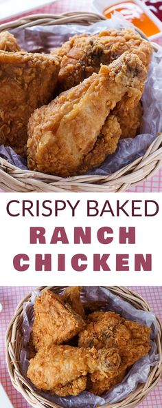 CRISPY chicken made with RANCH dip and baked in the oven! This easy Crispy Baked Ranch Chicken recipe only needs a few ingredients and makes a healthy dinner! Serve with a salad or some fresh vegetables on the side! I love making this recipe with chick Buffalo Ranch Chicken, Baked Ranch Chicken, Ranch Chicken Recipes, Oven Crispy Chicken, Chicken Recepies, Greek Chicken, Boneless Chicken, Chicken Tacos, Rotisserie Chicken