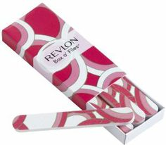 Revlon Box O' Files by Revlon. $3.99. Dazzling design makes filing nails fun. Six mini dual-sided nail files in a matchbox case for beautiful nails anytime. One side shapes, the other smoothes. Revlon Box o' Files contains six, dual-sided files for shaping and smoothing nails on the go. Convenient matchbox case fits easily in your bag. Available in three, eye catching designs. Mad in China